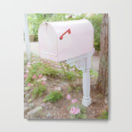 Shabby Chic Pink Mailbox Garden Cottage Decor Wall Art Prints Metal Print
