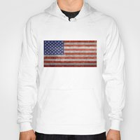 Hoodies featuring Flag of the United States of America - Vintage Retro Distressed Textured version by LonestarDesigns2020 is Modern Home Decor