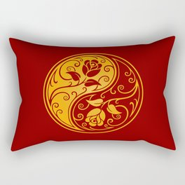 Yellow and Red Yin Yang Roses Rectangular Pillow