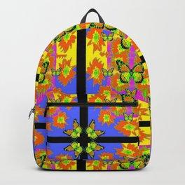 BLACK BARS MONARCH BUTTERFLIES BLUE=YELLOW DECORATIVE ART Backpack