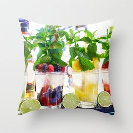 Fruit and berry cocktails with mint in cafe Throw Pillow