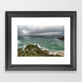 Stormy Cornish morning. Framed Art Print
