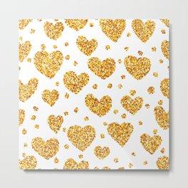 Gold glitter hearts pattern Metal Print