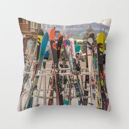 Ski Day Throw Pillow