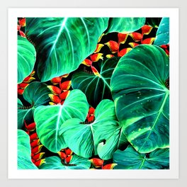 Bright Tropical Jungle Print With Caterpillars Art Print