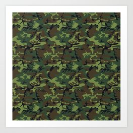 Green and Brown Camouflage Pattern Art Print