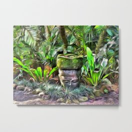 Meditation in a Tropical Garden Metal Print