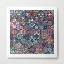 Colorful abstract tile pattern design Metal Print
