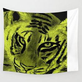 Tiger with Lime Background Wall Tapestry