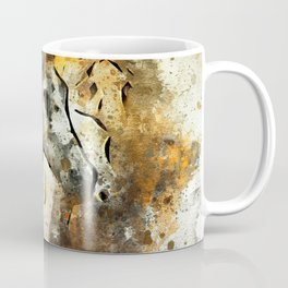 Watercolor Galloping Horses On Raw Canvas | Splatter Painting Coffee Mug