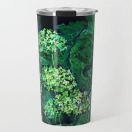 Hydrangea and Horseradish, black and green Travel Mug