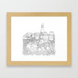 Scottish Beef Steak & Guinness Pie - Line Art Framed Art Print