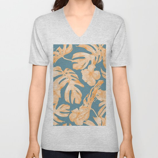 Island Hibiscus Palm Coral Teal Blue by followmeinstead