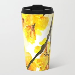 yellow trumpet trees watercolor yellow roble flowers yellow Tabebuia Travel Mug