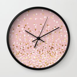 Floating Confetti - Pink Blush and Gold Wall Clock