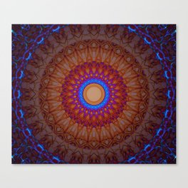Mandala in blue,red and orange tones Canvas Print