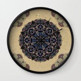 Mandala Blue Rose Flower Wall Clock