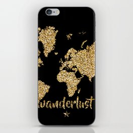 world map gold black wanderlust iPhone Skin