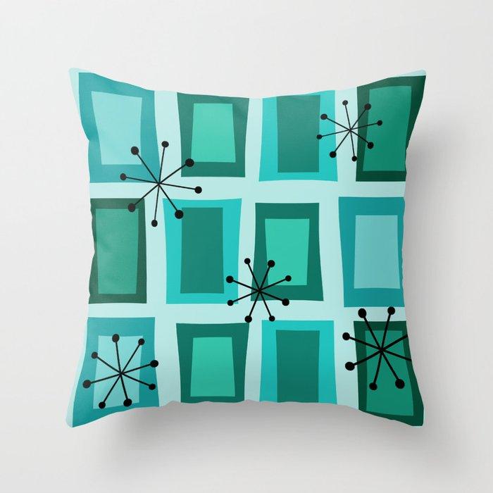 Mid Century Modern Art 'Wonky Doors' Turquoise Teal Throw Pillow