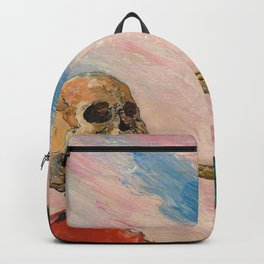 Skeletons Fighting portrait painting by James Ensor Backpack