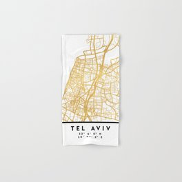 TEL AVIV ISRAEL CITY STREET MAP ART Hand & Bath Towel