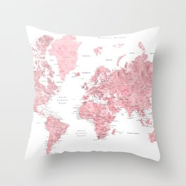 Light pink, muted pink and dusty pink watercolor world map with cities Throw Pillow