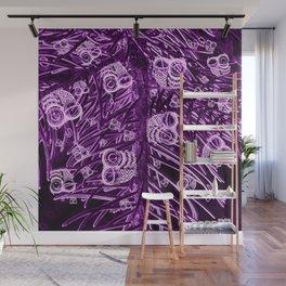 Mosaic of Owls V2 Purple Wall Mural