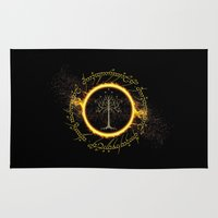 gondor Area & Throw Rugs featuring Lord Of The Ring Circle by Electra
