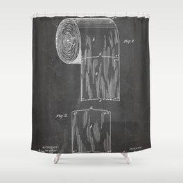 Toilet Paper Patent - Bathroom Art - Black Chalkboard Shower Curtain
