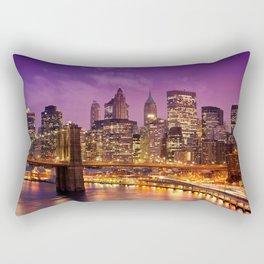 Awesome Brooklyn Bridge Magnificent Manhattan Skyline Citylights At Romantic Evening Red Ultra HD Rectangular Pillow
