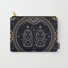 Gemini Zodiac Gold White on Black Background Carry-All Pouch