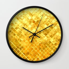 Give me Gold: festive, golden, fashionable, 3-d, glittery, Christmas, cheerful, lattice design Wall Clock