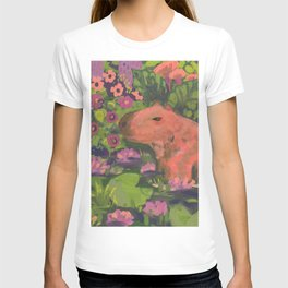 capybara in the river of water lilies T-shirt
