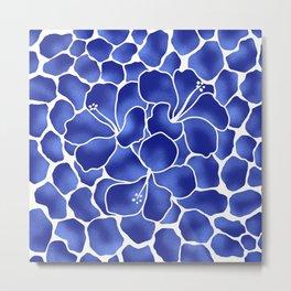 Hibiscus Animal: China Blue Metal Print