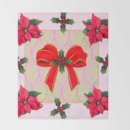 RED RIBBON BOW HOLLY BERRIES CHRISTMAS POINSETTIAS Throw Blanket