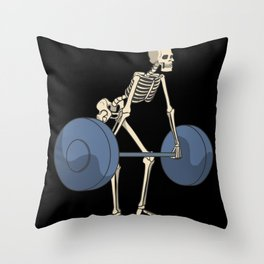 Skeleton with barbell weightlifting squat fitness Throw Pillow