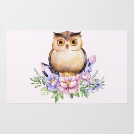Bohomian Animal Illustration- Be Wise Little Owl Rug