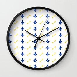 Key & Fleur De Lis Print Wall Clock