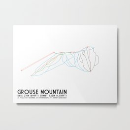 Grouse Mountain, BC, Canada - Minimalist Trail Art Metal Print