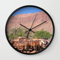 utah Wall Clocks featuring Horses Utah by BACK to THE ROOTS