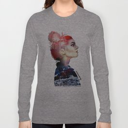 Double Exposure Girl Drawing (PART I) Long Sleeve T-shirt