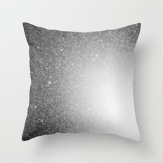 Galaxy Stars Ombre : Black Slate Gray Throw Pillow