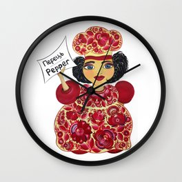 Little chef (red) in petrykivka style Wall Clock