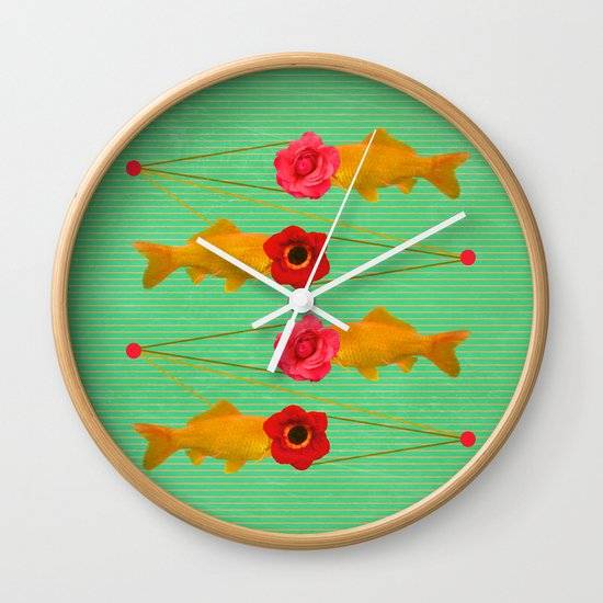 fishes and flowers Wall Clock