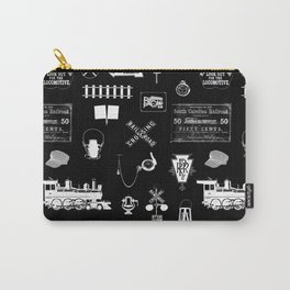 Railroad Symbols on Black Carry-All Pouch