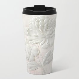 Embossed Painterly White Floral Abstract Travel Mug