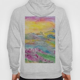 Sunset in the mountains. Watercolor painting Hoody