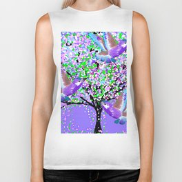 BIRDS OF SPRING PURPLE OIL PAINTING Biker Tank