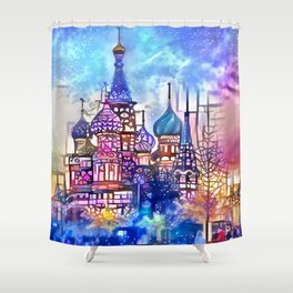 Twilight Stained Glass Saint Basil's Shower Curtain