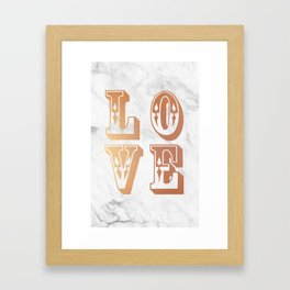 Rose Gold Marble Love Circus Typography Print Framed Art Print
